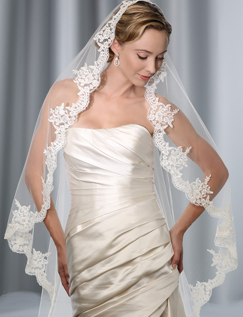 Bel Aire Bridal Wedding Veil V7175 - Waltz Length Mantilla - Alencon Lace