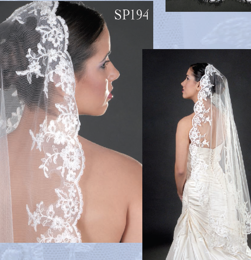 Giselle Bridal Veil SP194- Mantilla Cut Lace Veil