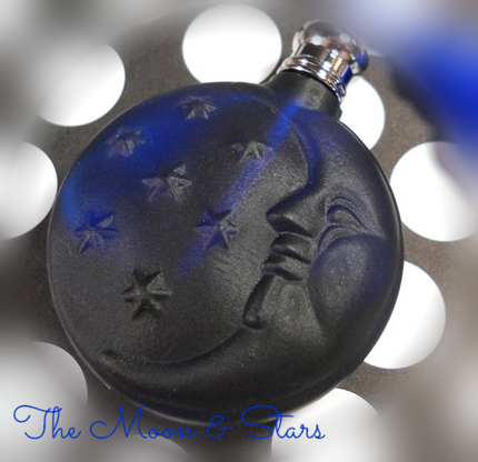 Moon & Stars Perfume Bottle with Blue Tassel Top