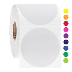 Permanent Solvent-Resistant Color Labels for Containers - 50.8mm circle #AUA-132