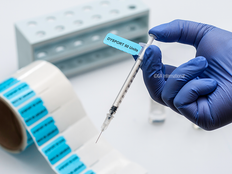 """Syringe Identification Labels - 37.1mm x 25.4mm + 50.8mm Clear Tail """"DYSPORT 50 UNITS"""" #H-SYRA-99953"""