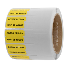 """Syringe Identification Labels - 37.1mm x 25.4mm + 50.8mm Clear Tail """"BOTOX 25 UNITS #H-SYRA-99951"""