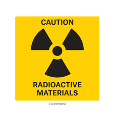 Radiation Warning Label - 101.6mm x 101.6mm  #H-PPL-04431