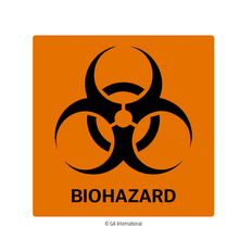 Biohazard Warning Labels - 101.6mm x 101.6mm  #H-PPL-04433