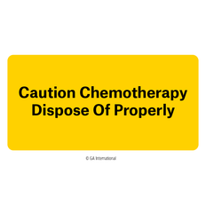 """Caution Chemotherapy - Dispose of Properly"" Labels - 50.8mm x 25.4mm  #H-PPL-04434"