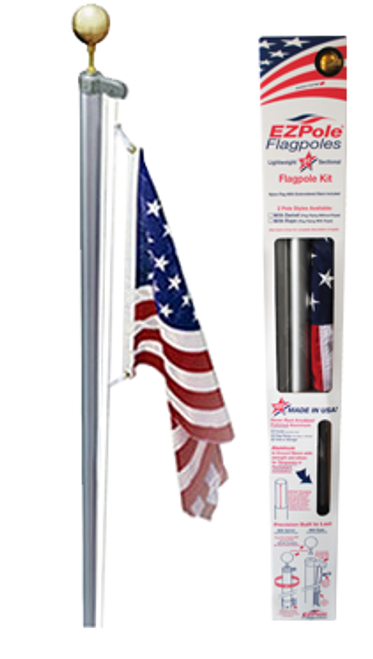 The Classic Flag pole with rope halyard and gold ball topper. Made in U.S.A.
