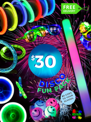 $30 Party Pack, includes 50x glowbracelet bracelets, shutter glasses, foam stick, jelly rings, smiley face bouncy ball, spinner pens, rainbow bubble bracelet