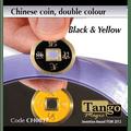 Chinese Coin (CH0017) Black & Yellow by Tango Magic - Tricks