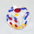 1 Inch Transparent PAIR OF DICE (6 Sided Dice With Colored Dots) By Big Guy's Magic
