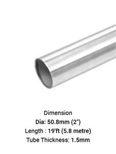 "TU6926501915R TUBE ROUND 2"" DIA 1.5 MM THICK IN SS316"