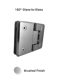 SHCAGG180BN 180º Glass-to-Glass Hinge in Brushed Nickel Finish