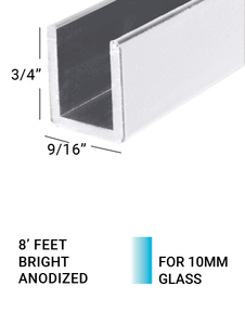 "E3US3834BA8 U-CHANNEL For 3/8""Glass  3/4""(H) X 3/4""(W) 8 FEET LENGTH BRIGHT ANODIZED"