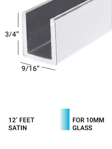 """E3US3834SA12 U CHANNEL IN ALUMINIUM 1-1/4"""" X 1/2"""" X 1/16"""" For 3/8"""" GLASS IN 12FT. LENGTH SATIN ANODISED"""
