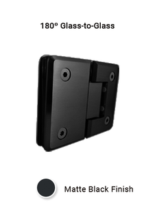 SHCAGG180MBL 180º Glass-to-Glass Hinge in Matte Black Finish