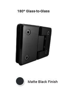 SHCAGG180MBL 180º Glass-to-Glass Hinge in Matte Black Finish