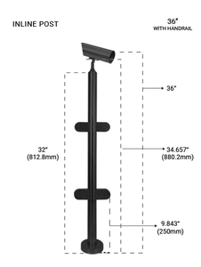 PR60034236LMBL 36 POST ROUND DIA 42.4 MM (IN LINE) Matte Black Finish