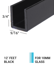 "E3US3834BL12 BLACK U-Channel for 3/8"" Glass 3/4""(H) X 3/4""(W) 12 FEET"