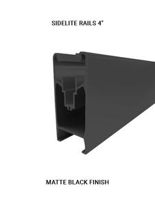 """E3CSLR43812BL10 Sidelite Rails 4"""" for 3/8"""" Or 1/2"""" glass in Matte Black Finish"""