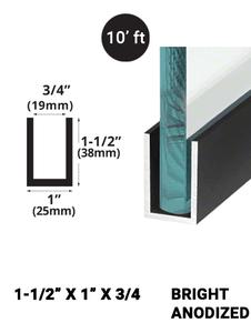 E3UC15X1BA10 Bright Anodized 1-1/2 x 1 in 10' feet length