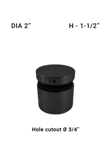 """SO48592015XBL STAND OFF WITH CAP 2"""" DIAMETER 1 1/2"""" LENGTH in Matte Black"""