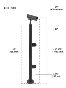 "PR60084242EMBL ROUND END POST  42"" IN MATTE BLACK FINISH"