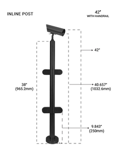 "PR60094242LMBL ROUND INLINE  POST 42"" SS316 in MATTE BLACK FINISH"