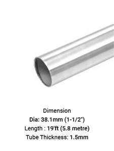 """TU6924381915R TUBE ROUND 1-1/2"""" DIA X 1.5 MM THICK in SS316"""