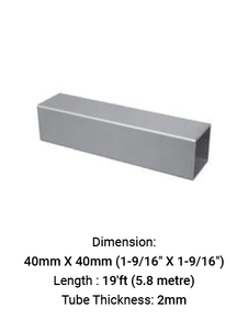 TU6933401920S TUBE SQUARE 40 X 40 MM WITH 2.0 MM THICK IN SS316
