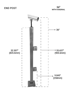 """PS60524036EBS POST SQUARE END 36"""" SS316 in Brushed Finish"""