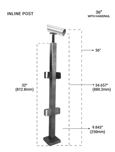 """PS60534036LBS SQ. INLINE POST 36"""" SS316"""