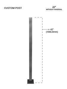 """PS60604042XBS SQ. POST 40X40 SQ PIPE 42""""  SS316 WITHOUT CLAMPS"""