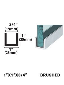 """E3UC1X1BN12 Brushed Stainless 1"""" x 1"""" 12FT"""
