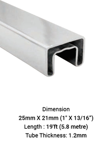 TU625211912S TUBE SLOTTED SQ. FOR HANDRAIL 25 X 21 MM (19') SS316