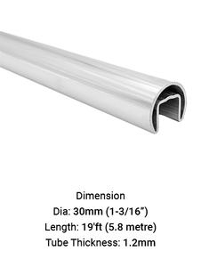 TU630D1912R TUBE SLOTTED ROUND FOR HANDRAIL Diameter 30 MM WITH 1.2 MM THICK 5.8M (19') LENGTH IN SS316