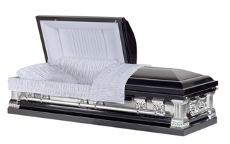 Knight Black Casket with White Velvet Interior - Metal Casket