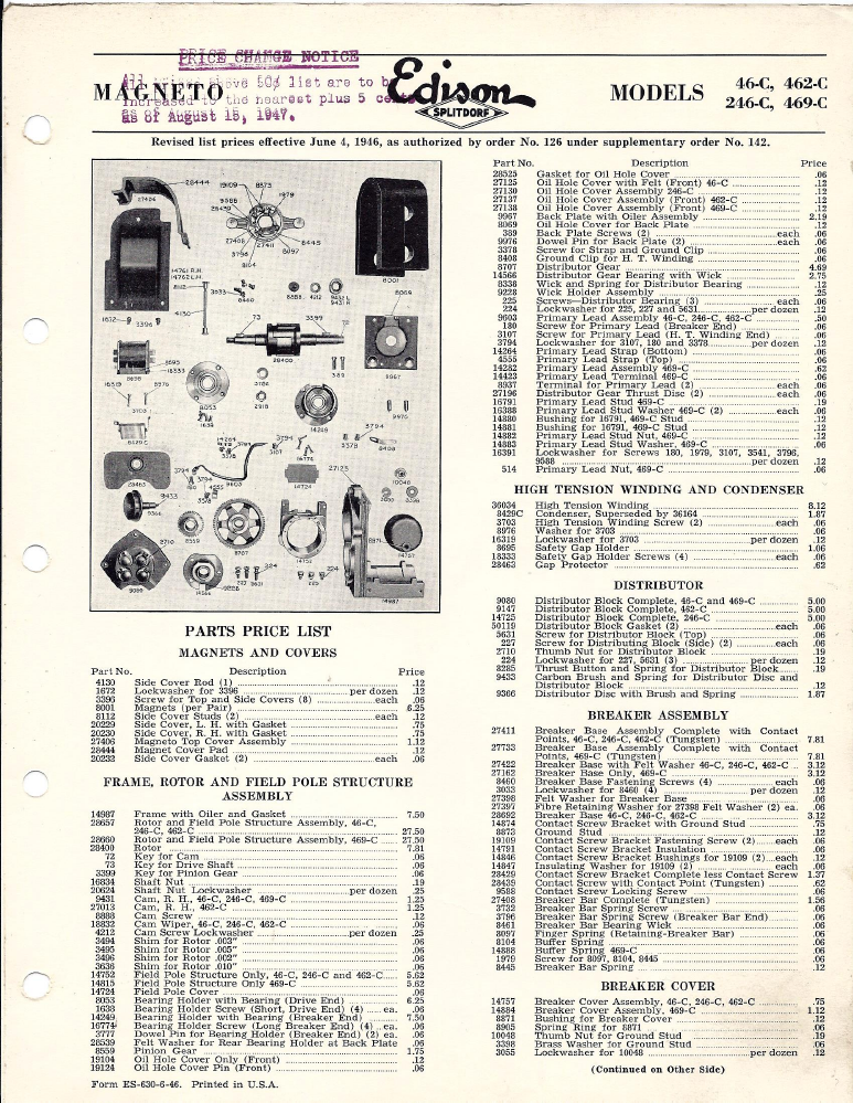 dixie 46 462 and 246 magneto parts list rh oldcroak com fairbanks morse magneto parts diagram Harley Magneto Ignition System