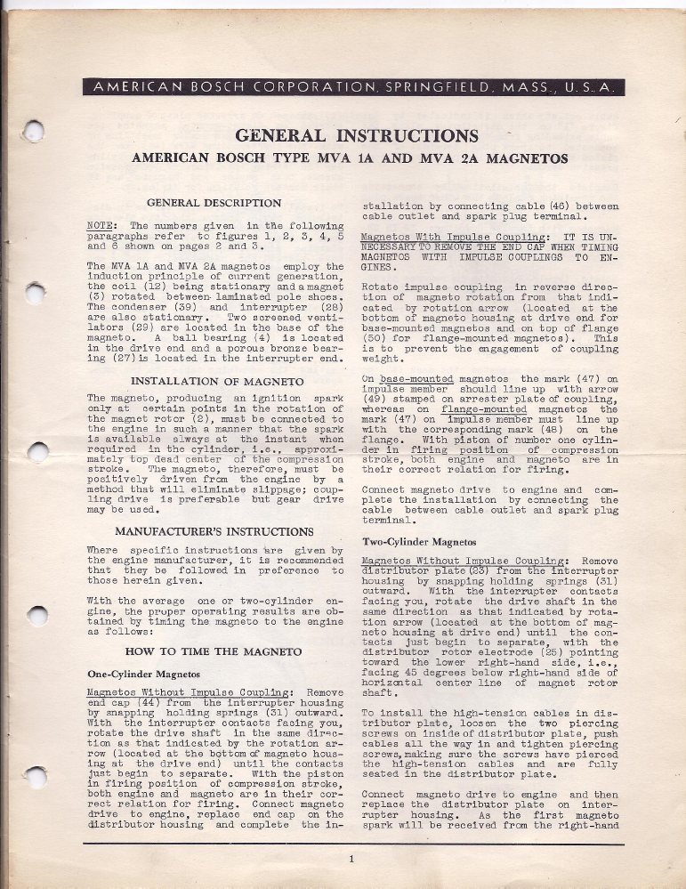 American Bosch Mva Magneto Instruction Manual