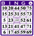 Single Face Bingo Hard Card Purple Sold 20 Per Pack