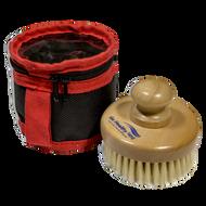 Pre-sauna natural bristle dry skin brush and bag