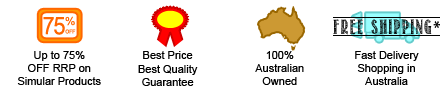Icons for 75% off, best price and quality, 100% Australian owned and Fast Delivery.