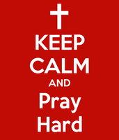 Keep Calm and Pray Hard (Text) Vinyl Transfer (White)