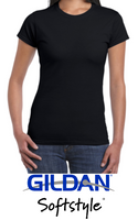 (Fitted) Ladies Round-Neck T-Shirt Gildan® SoftStyle™ 100% cotton pre-shrunk (Black)