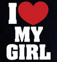 I Love my Girl Vinyl Transfer (White & red heart)