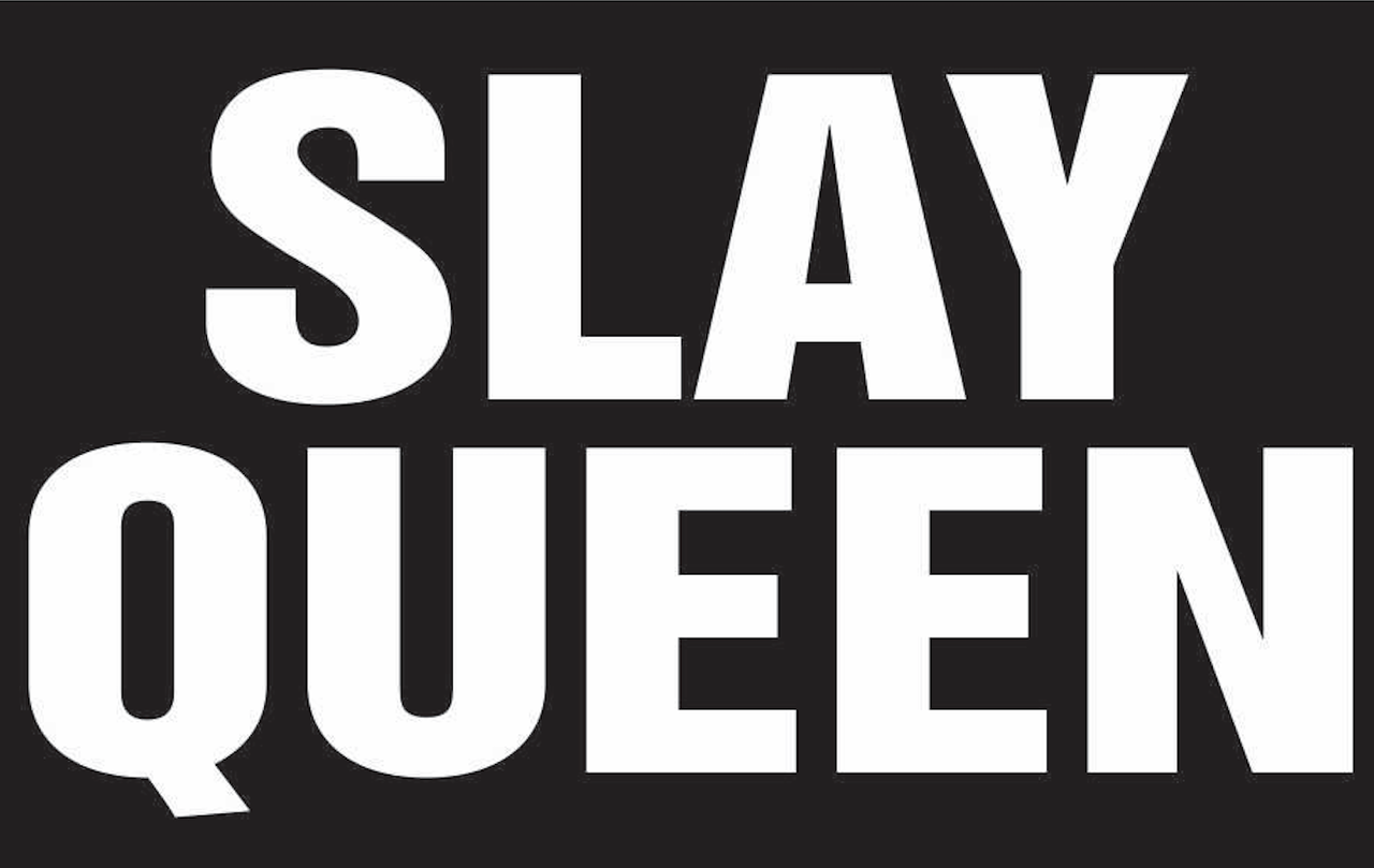 Slay Queen Text Vinyl Transfer White Texas Rhinestone