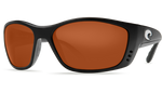 Costa Del Mar Polarized 580P Sunglasses GLOBAL FIT: Fisch in Black & Copper Lens