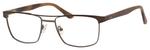 Esquire EQ1565 Mens Rectangle Frame Reading Eyeglasses in Brown 53 mm Custom Lens