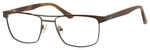 Esquire EQ1565 Mens Rectangle Frame Reading Eyeglasses in Brown 53 mm RX SV