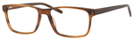 Esquire EQ1566 Mens Rectangle Frame Eyeglasses in Brown Amber 57 mm RX SV