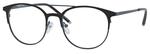 Ernest Hemingway H4810 Unisex Round Frame Eyeglasses in Satin Black/Navy 52 mm Custom Lens