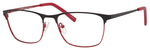 Ernest Hemingway H4818 Unisex Oval Frame Eyeglasses in Black/Red 54 mm